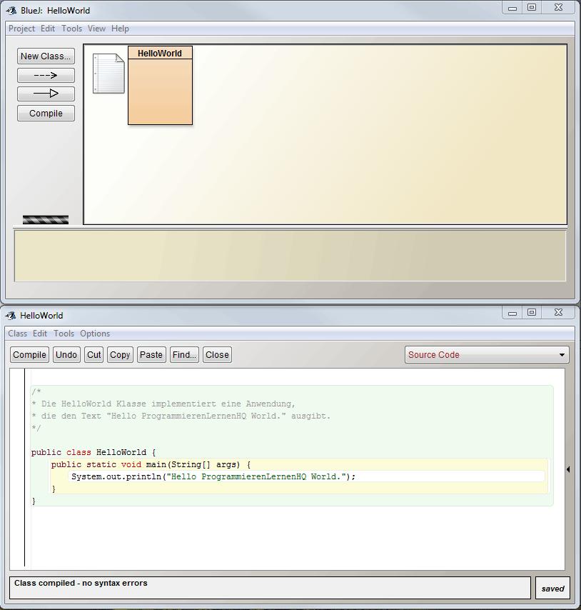 Java-Entwicklungsumgebung BlueJ Programmier-Ansicht