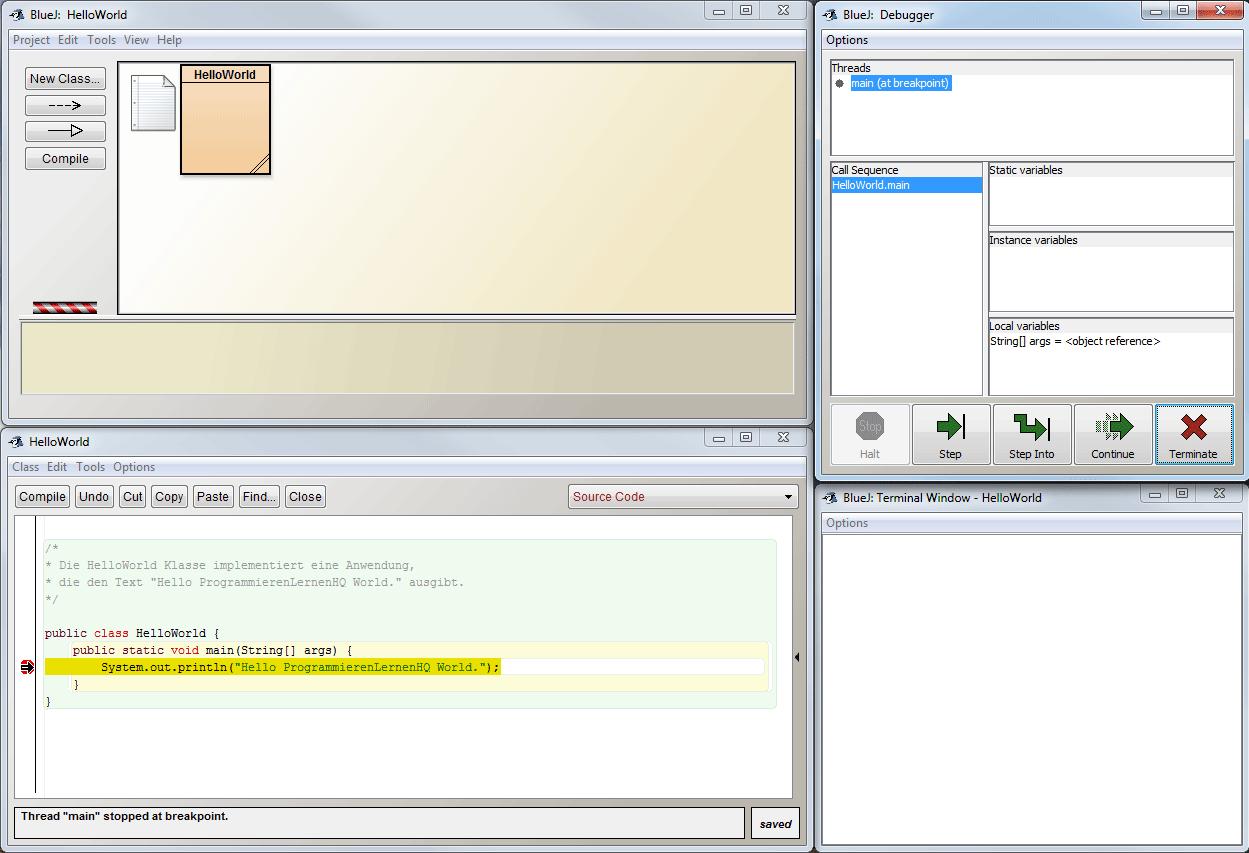 Java-Entwicklungsumgebung BlueJ Debug-Ansicht