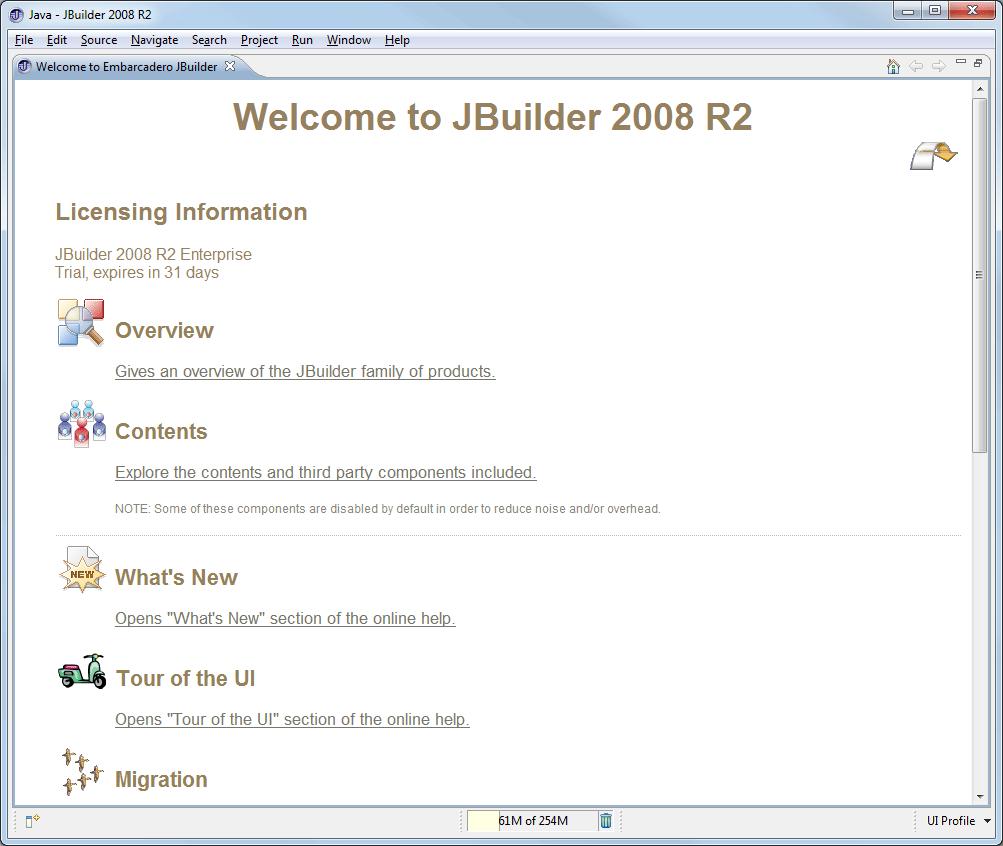 Java-Entwicklungsumgebung JBuilder 2008 R2 Welcome