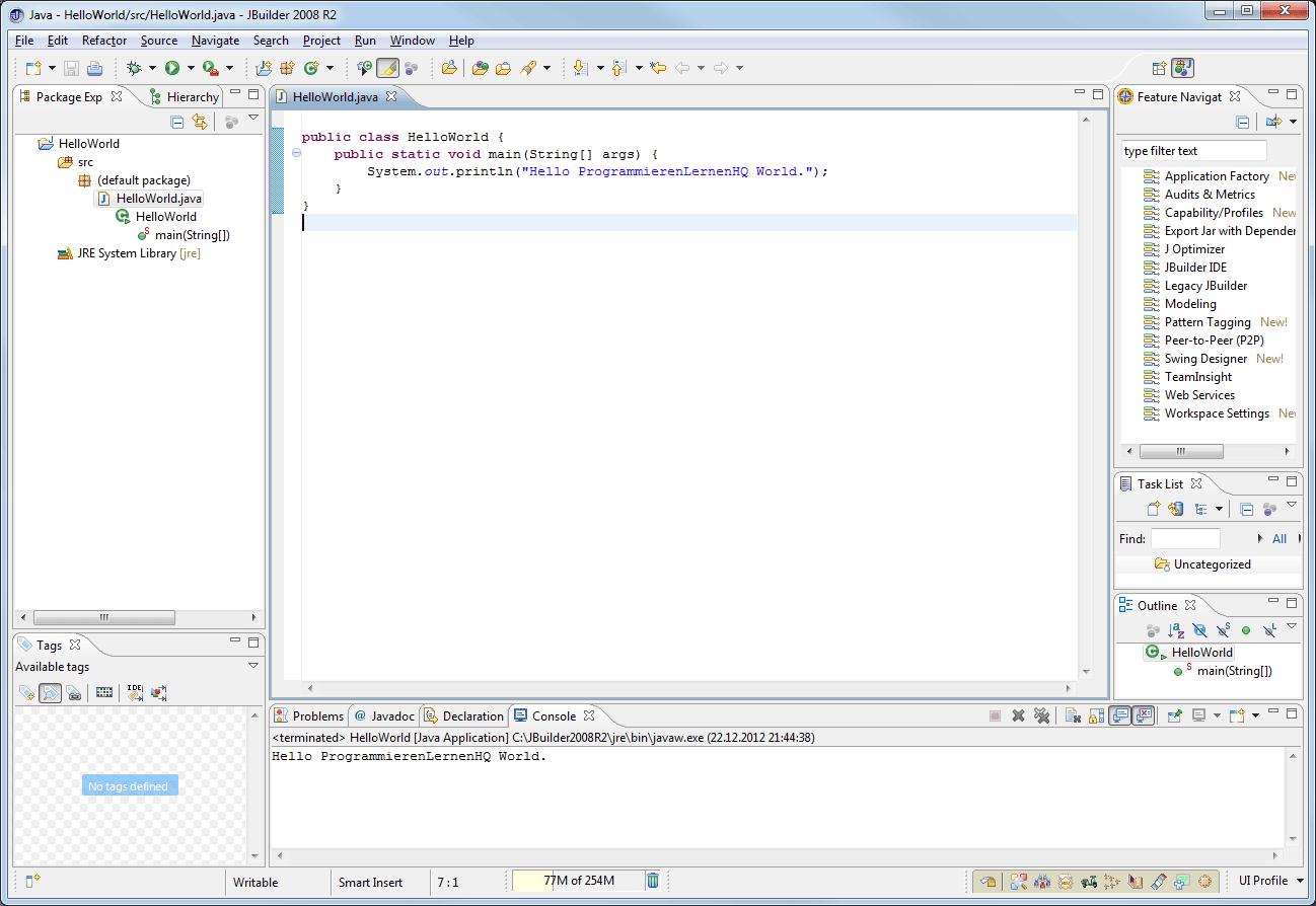 Java-Entwicklungsumgebung JBuilder 2008 R2 Java-Perspektive