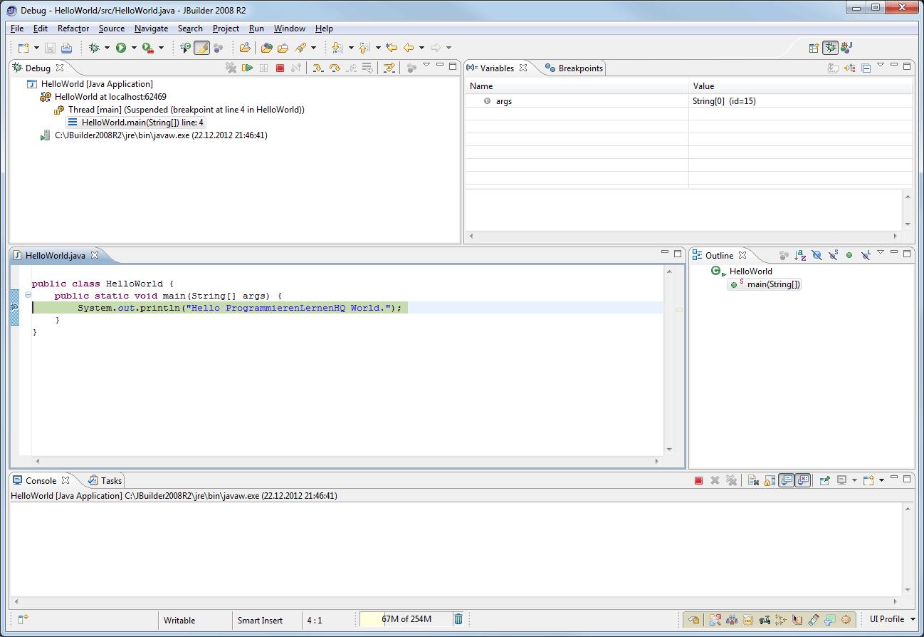 Java-Entwicklungsumgebung JBuilder 2008 R2 Debug-Perspektive
