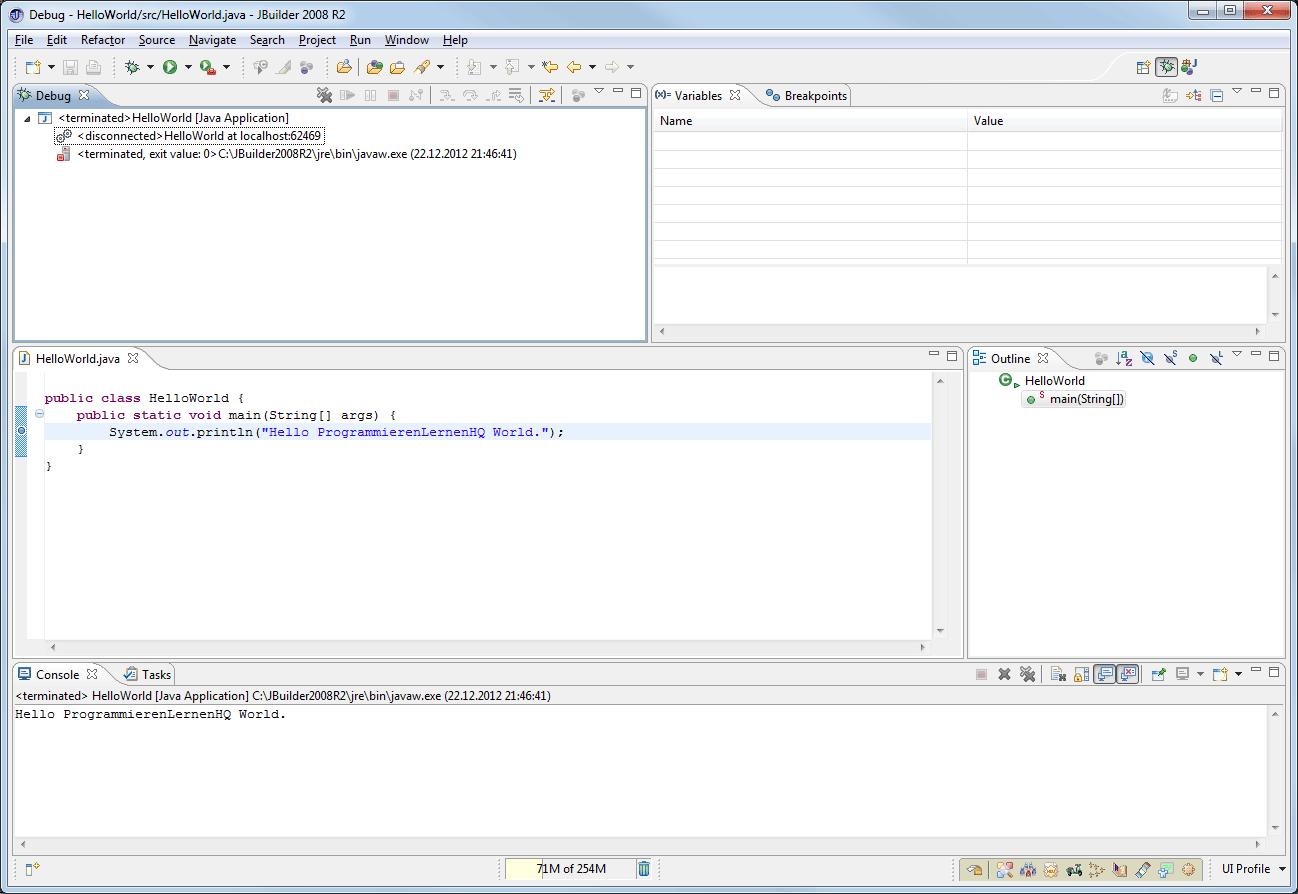 Java-Entwicklungsumgebung JBuilder 2008 R2 Debug-Perspektive Resume