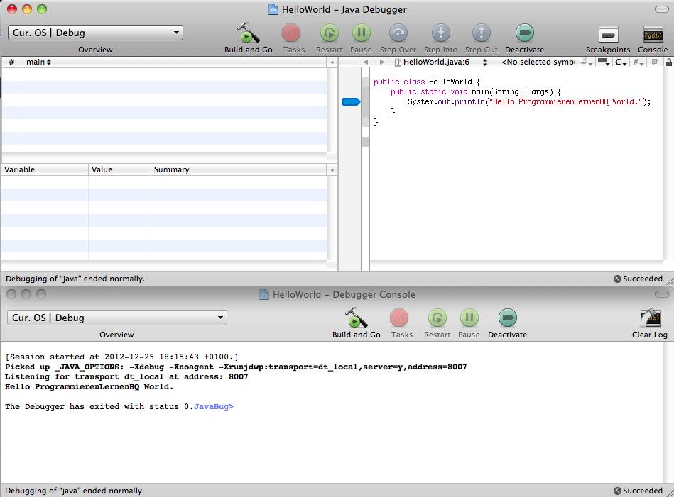 Java-Entwicklungsumgebung Xcode Debug-Ansicht Breakpoint