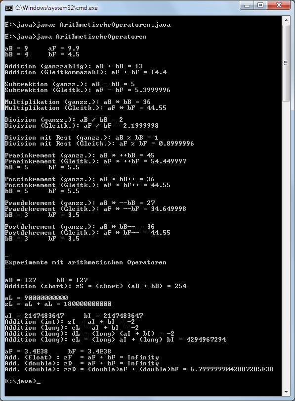 Java arithmetische Operatoren in Ausdrücken