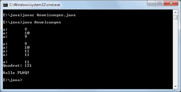 Java elementare Anweisungen