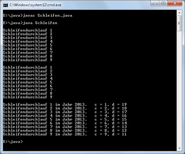 Java Schleifen Ausgabe