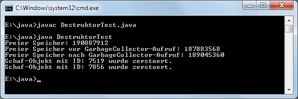 Java Destruktor Objekte zerstören Beispiel