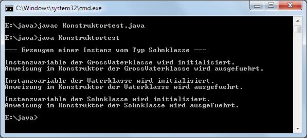 Java Initialisierungsreihenfolge von Konstruktoren Beispiel