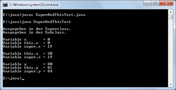 Java Methoden überlagern: Das this- und super-Schlüsselwort