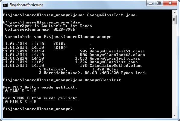 Java Innere Klasse Anonyme