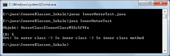 Java Innere Klasse lokale nichtstatische Klasse
