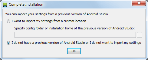 Android Studio Dialog > Import Settings