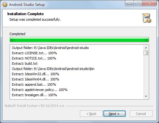 Android Studio Setup > Installation erfolgreich abgeschlossen