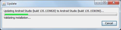 Android Studio Update Fortschritt