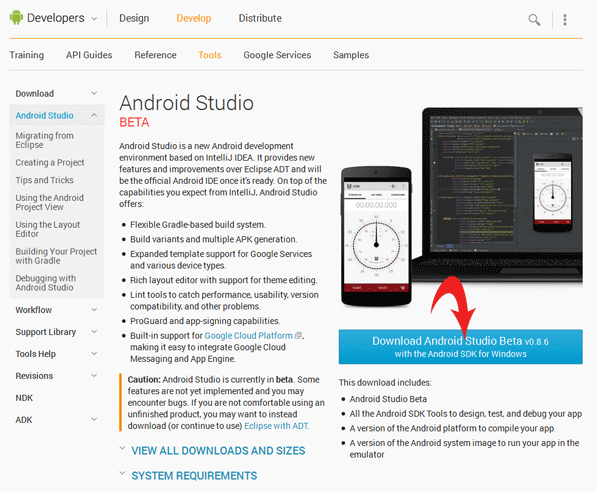 Download Android Studio Webseite
