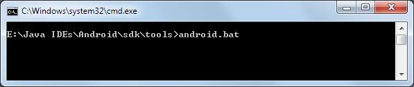 SDK Manager mit der Datei android.bat starten