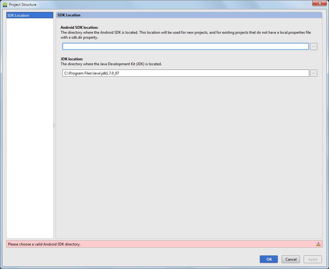 SDK-Verzeichnis Pfad fehlt