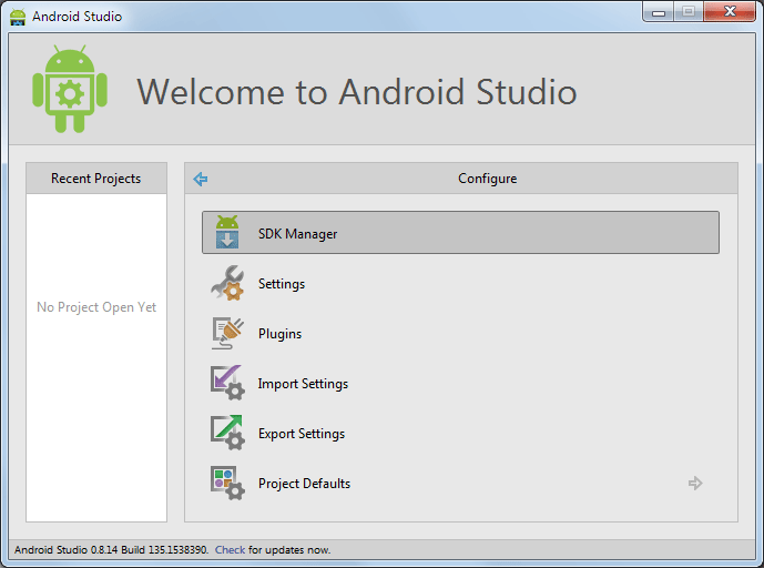 SDK-Manager in Android Studio starten
