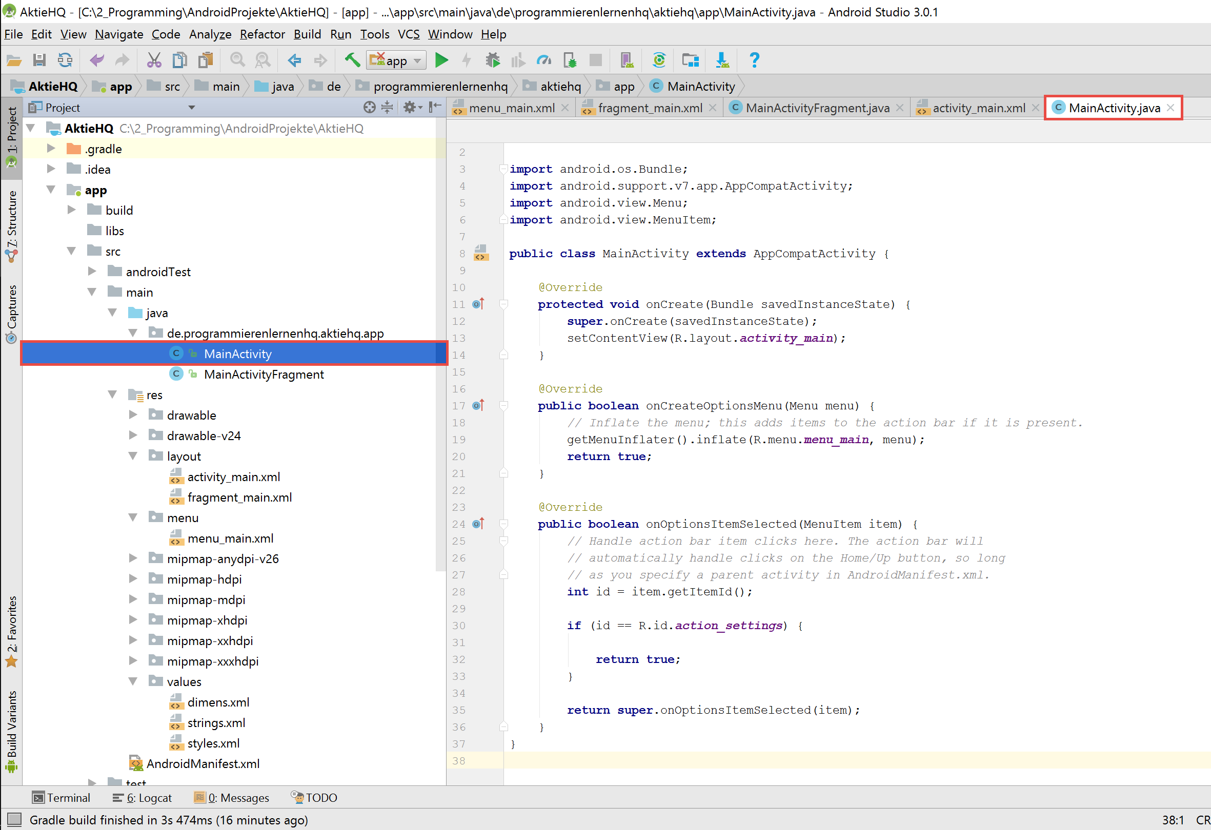 android studio project activity code