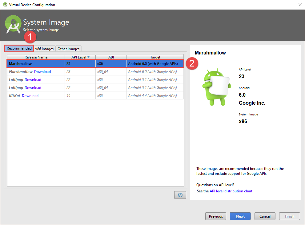 android studio project avd image