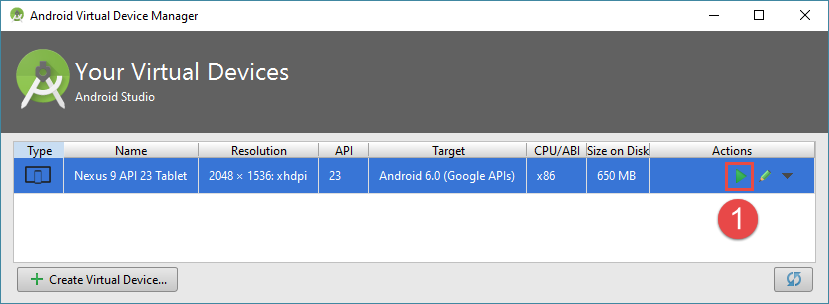 android studio project avd starten