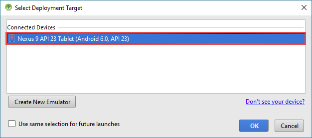 android studio project avd choose
