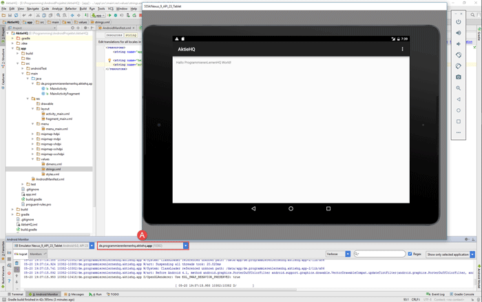android studio project avd app
