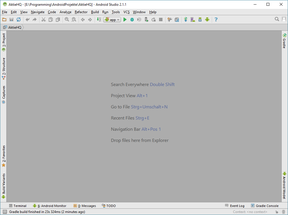 android studio project first start