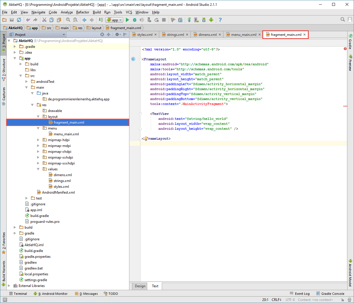 android studio project fragment layout