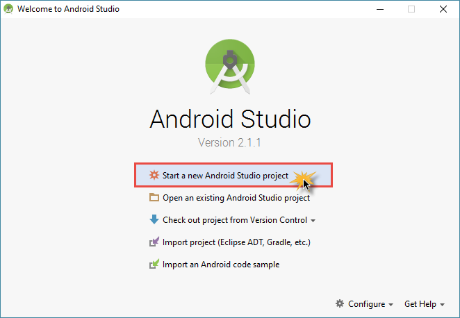 android studio project new