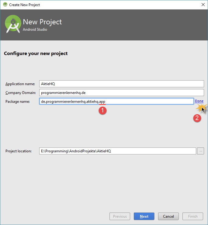 android studio project package