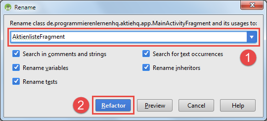 android refactoring rename