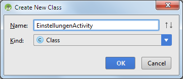 android settings class name