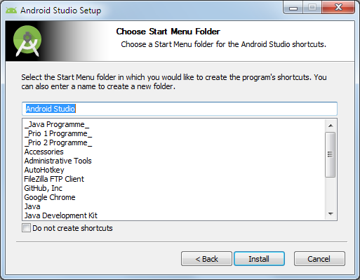 android studio start menu chooser