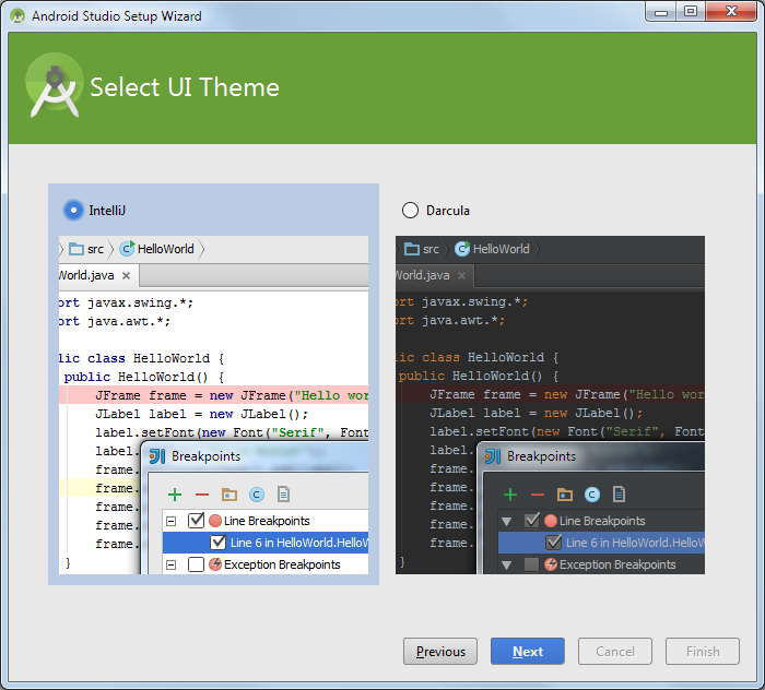 android studio ui theme