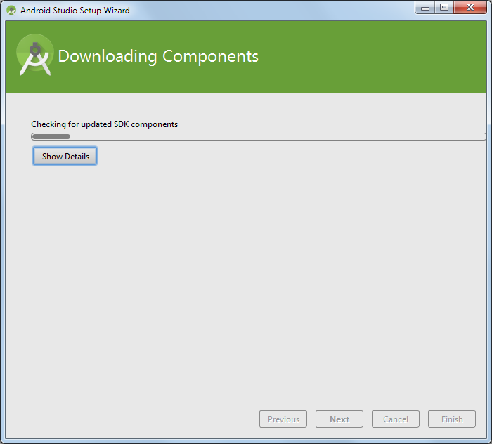 android studio downloading components 1