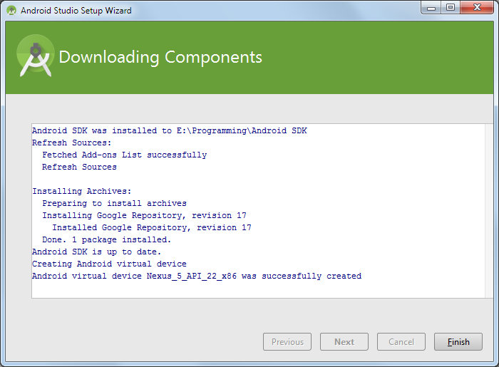 android studio downloading components 2