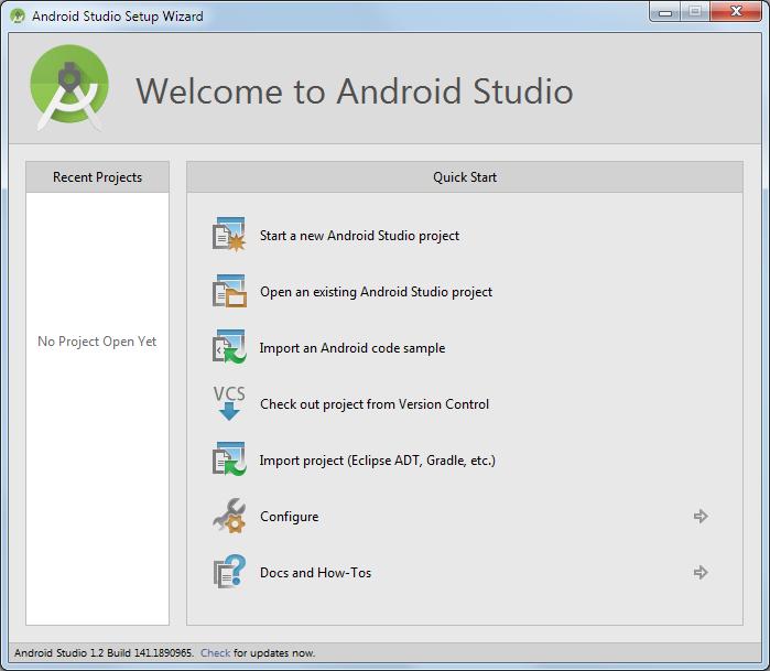 android studio willkommensbildschirm