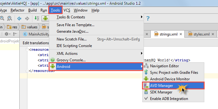 android studio project avd manager