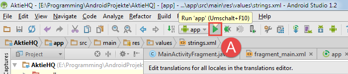 android studio project avd run