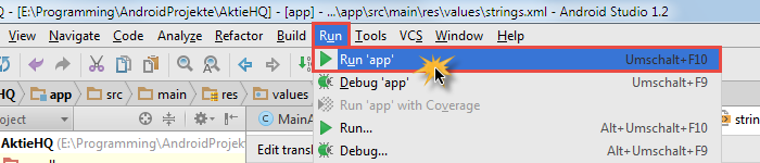 android studio project avd run app