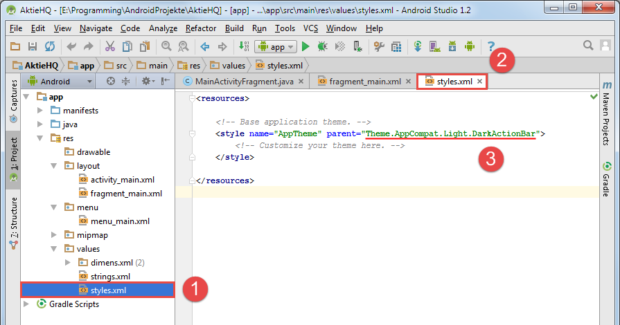 android studio project theme
