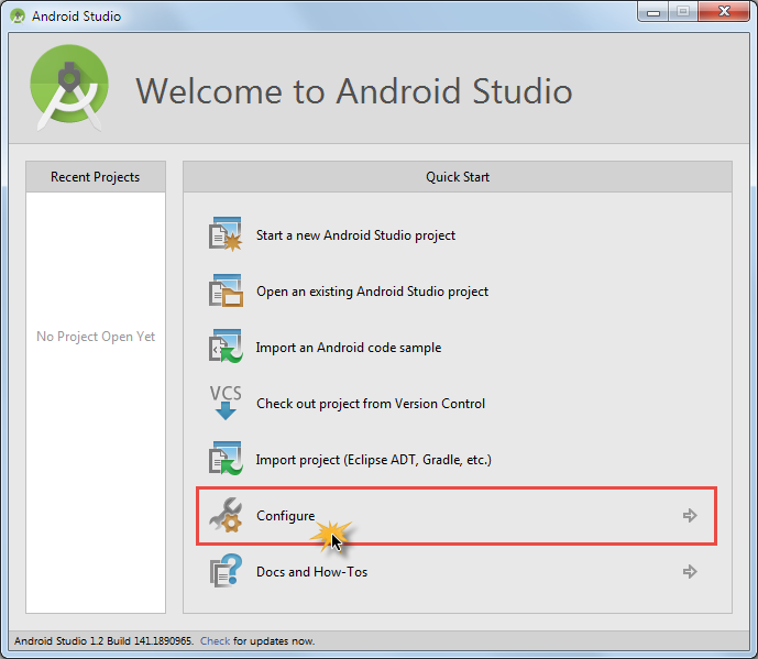 android studio sdk configure
