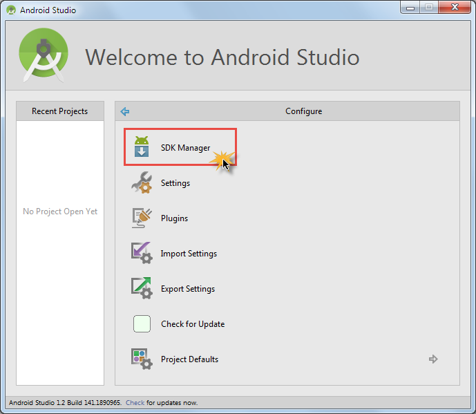 android studio sdk manager starten