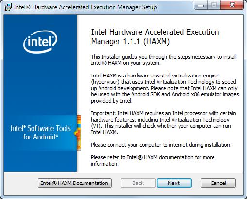 haxm installation willkommensschirm