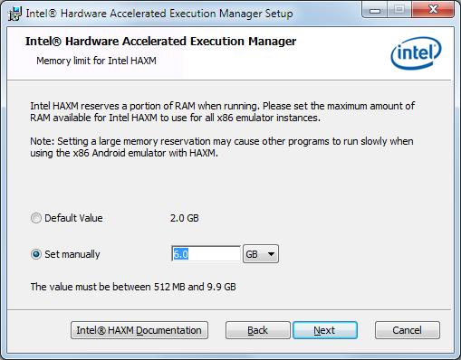 haxm installation memory