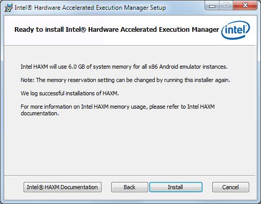haxm installation starten
