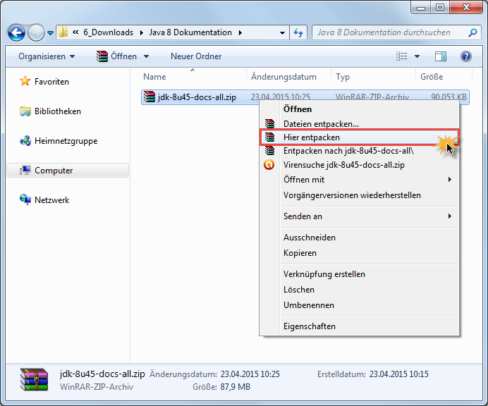 Java 8 Dokumentation installieren 1