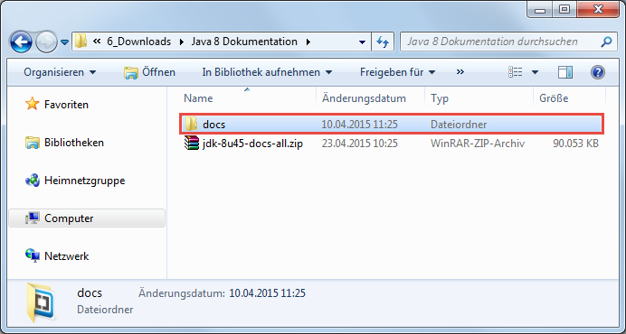 Java 8 Dokumentation installieren 2