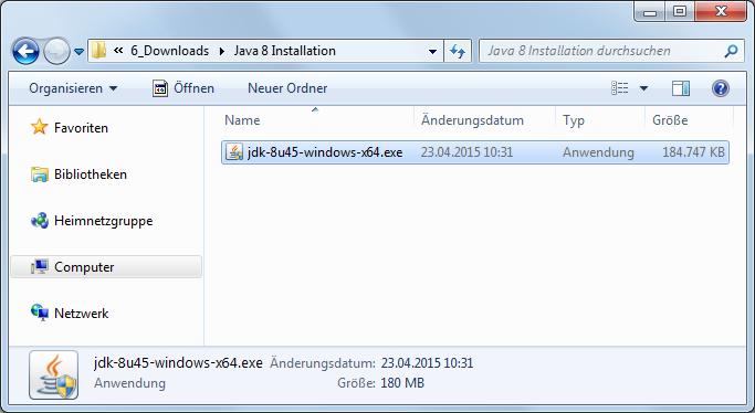 Java 8 Installationsdatei